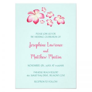 Tropical flower wedding invitations featuring pink plumeria flower design with an aqua background.