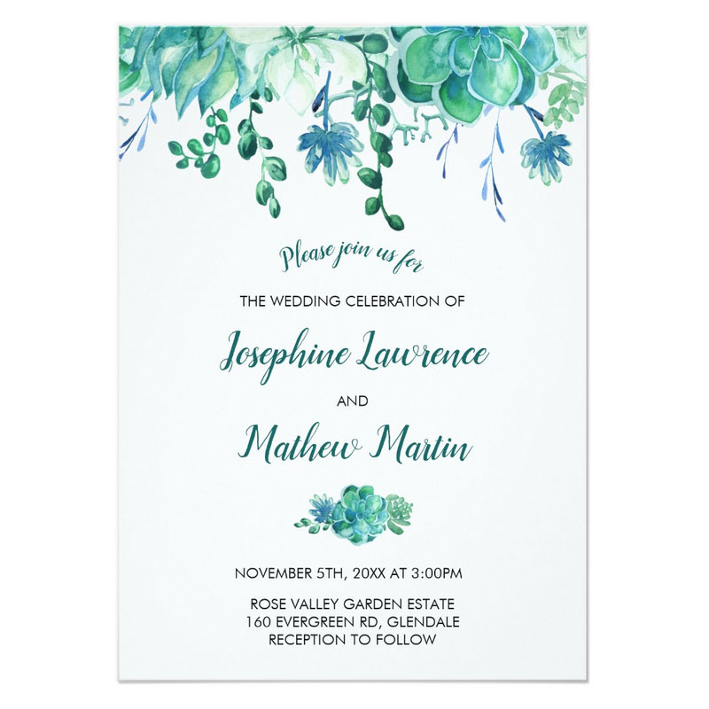Wedding invitations with succulents featuring a green watercolor succulent design with matching wedding stationery.