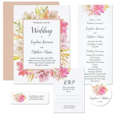 Desert Wedding Invitations With Watercolor Rustic Succulents And Foliage