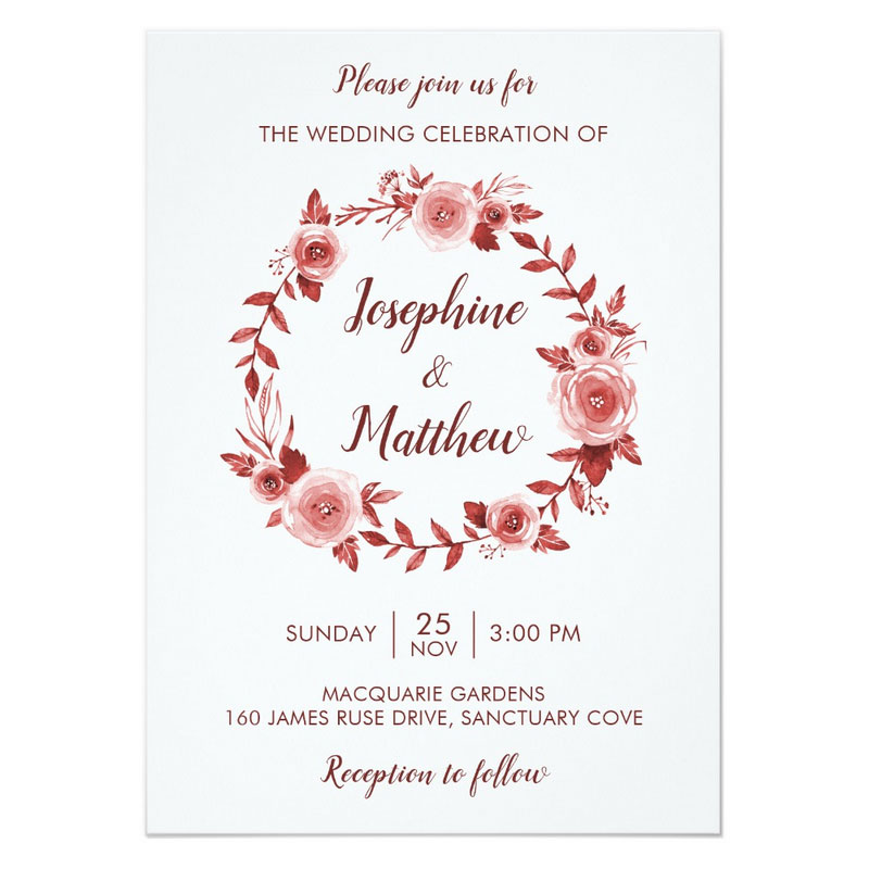 Elegant fall wedding invitations with burgundy rose wreath design with roses and foliage.