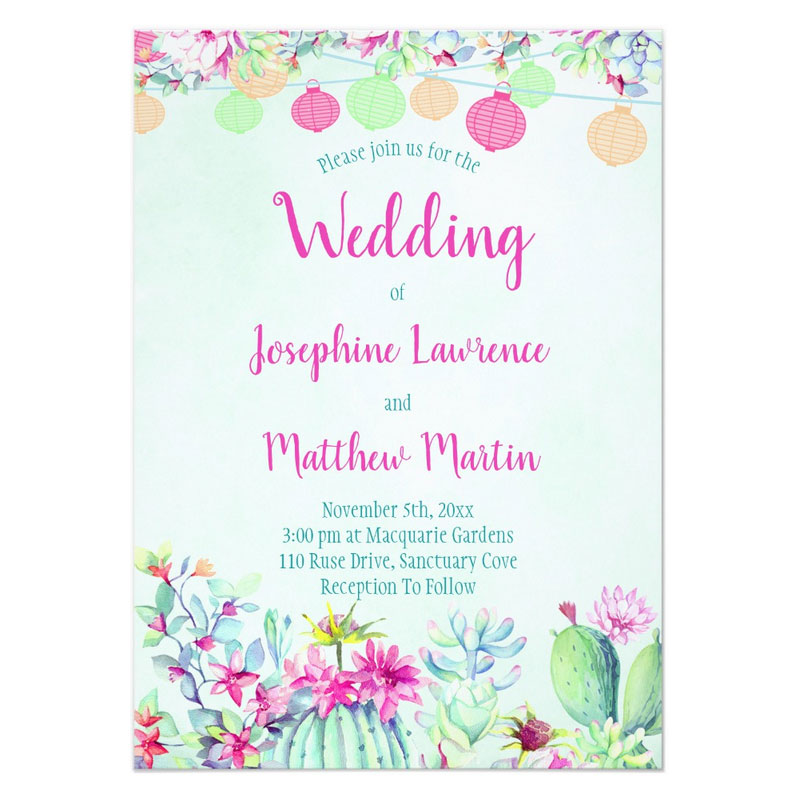Fiesta wedding invitations with colorful string lanterns, succulents and cactus with pink flowers.