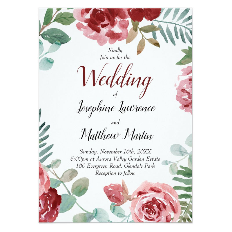 Red rose wedding invitations and matching stationery with burgundy red rose and green foliage watercolor design.