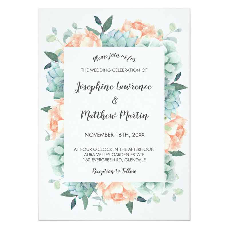 Succulent invitation for weddings featuring succulents, green foliage and peach peony flowers in a watercolor style.