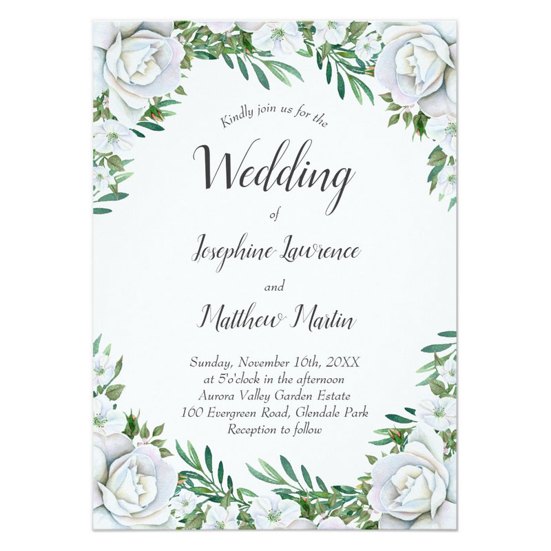 White rose flower border wedding invitations and stationery.