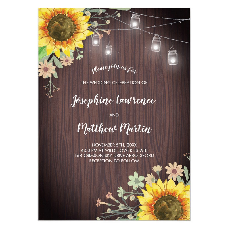 Rustic Sunflower wedding invitations with wood and mason jar lights.