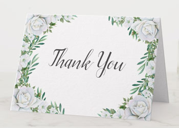 Wedding thank you note cards with white rose and greenery watercolor border design.
