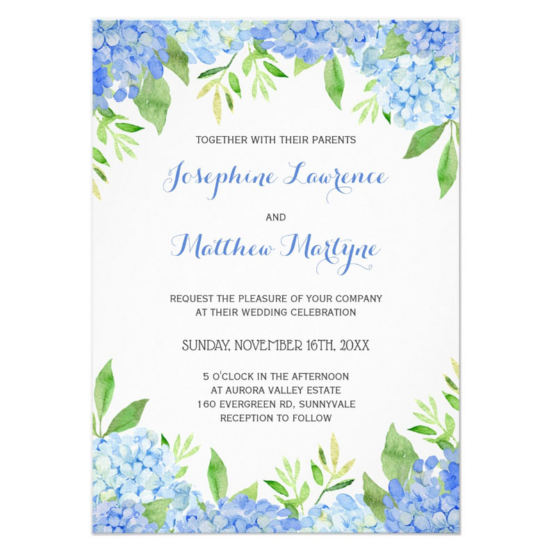 Hydrangea wedding invites featuring watercolor blue hydrangeas and greenery leaves and foliage.