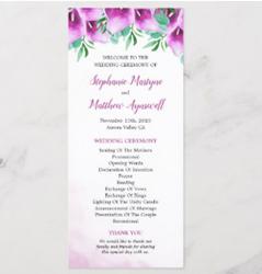 Purple calla lily wedding ceremony programs with watercolor calla lily design.
