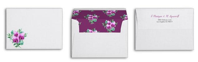 Calla lily invitation envelopes with watercolor purple calla lily design.