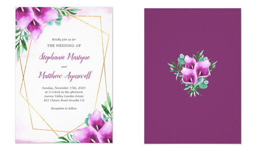 Front and back views of purple calla lily wedding invite featuring watercolor calla flowers and geometric border.