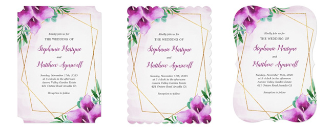 Trim options for the calla lily wedding invites.