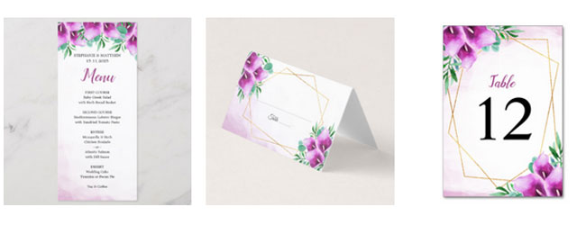 Wedding menu, place card and table number cards featuring a watercolor purple calla lily design with gold geometric border.