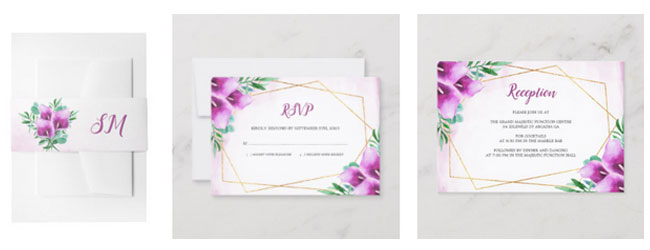 Purple calla lily belly bands, reply cards and reception cards.