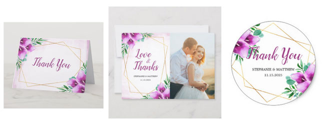 Wedding thank you cards and thank you stickers with purple calla lily watercolor geometric floral design.