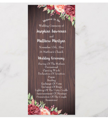 Rustic  floral wedding ceremony programs with wood background and burgudy and peach floral design.