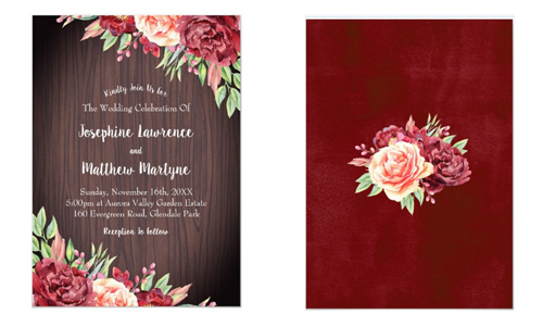 Floral rustic wedding invitations with burgundy blush roses on a wood background front and back views.