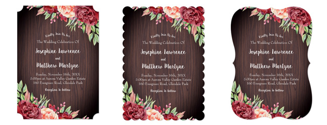 Floral rustic wedding invitations with the different trim options: ticket corners, scallop and bracket edge trim.