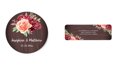 Rustic floral round wedding stickers and address labels with wood background and floral design.