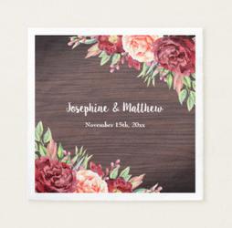 Floral rustic design wedding napkins.