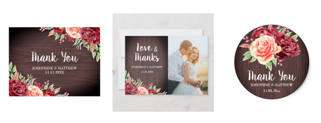 Floral rustic thank you cards in postcard format or with photo option as well as round thank you sticker featuring floral and wood deisgn.