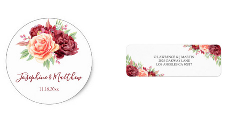 Floral wedding stickers and address labels with blush burgundy floral design.