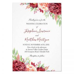 Floral wedding invites with burgundy and peach watercolor roses, flowers and greenery foliage.