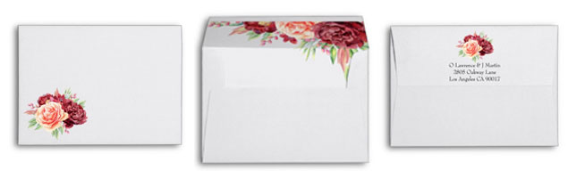 Matching envelopes for floral wedding invites featuring watercolor peach blush and burgundy roses with foliage.