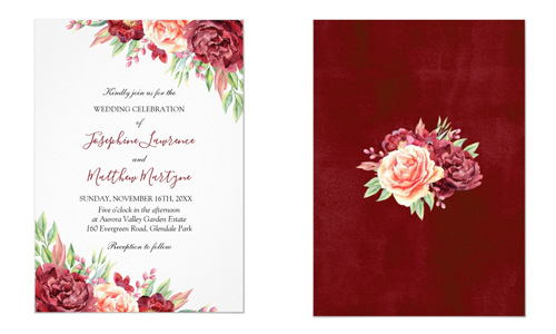 Front and back views of floral wedding invites featuring watercolor roses.