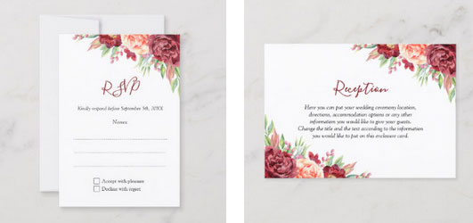 Wedding invite rsvp card and reception card with watercolor blush burgundy roses.