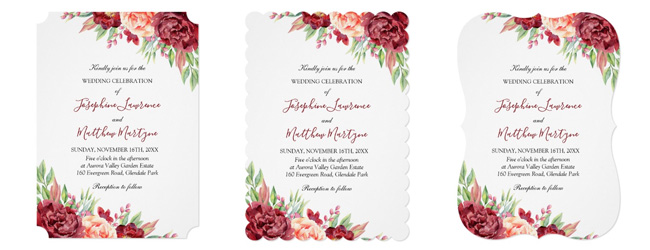 Trim options for wedding invites showing ticket corner trim and scallop and bracket edge trim.