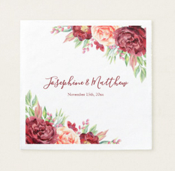 Wedding napkins with bride and groom names, wedding date and blush burgundy watercolor rose design.