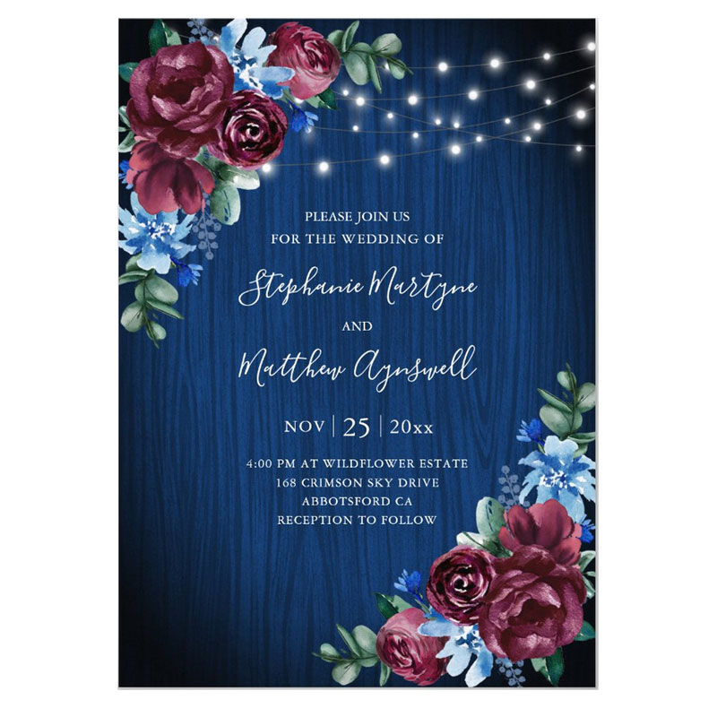 Navy blue and burgundy floral wedding invitations
