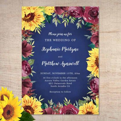 Navy blue sunflower wedding invitations with burgundy rose border.