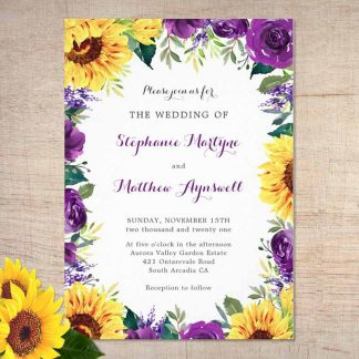 Watercolor sunflower wedding invitations with sunflowers and purple floral border.
