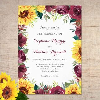 Sunflower wedding invitations with watercolor burgundy rose border.