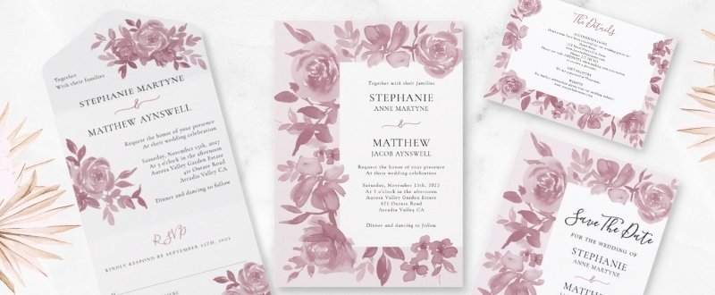 Dusty rose watercolor floral wedding invitation suite collection
