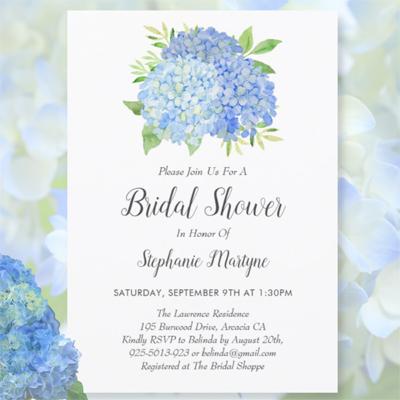 Blue Hydrangea bouquet watercolor floral botanical bridal shower invitations
