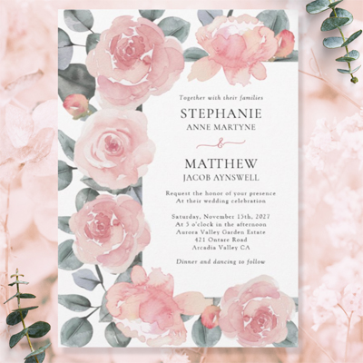 Dusty pink floral and eucalyptus watercolor wedding invitations