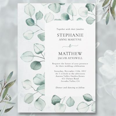 Watercolor eucalyptus foliage leaves botanical wedding invitations.