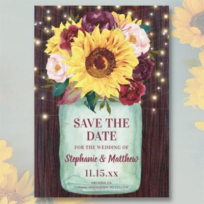 Sunflower, burgundy blush watercolor floral, mason jar, wood lights save the date cards.