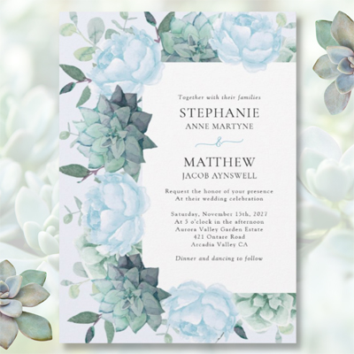 Dusty blue peonies and succulents watercolor botanical wedding invitation.