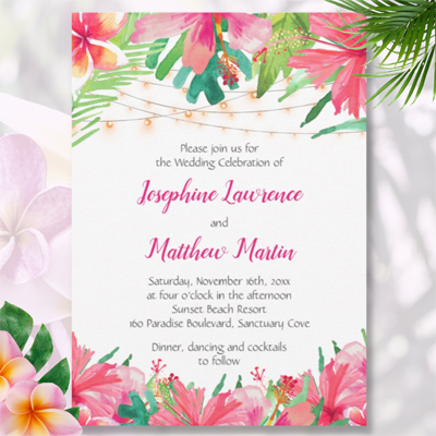 Hibiscus tropical flowers foliage string lights watercolor wedding invitations.
