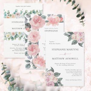 Dusty rose wedding invitations with modern botanical designs.