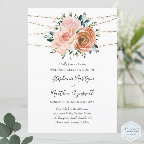 Dusty rose wedding invitations with watercolor blush pink and coral roses and foliage with string lights.