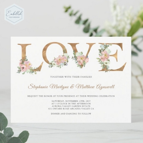 Love text dusty pink rose wedding invitations with botanical floral design.